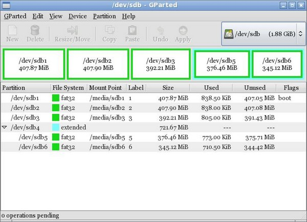 GParted Partition Layout