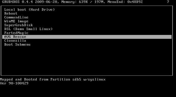 GRUB4DOS Boot Menu Screen