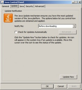 Java Updater Window