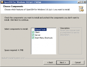 Install and configure a SSH server on WinXP