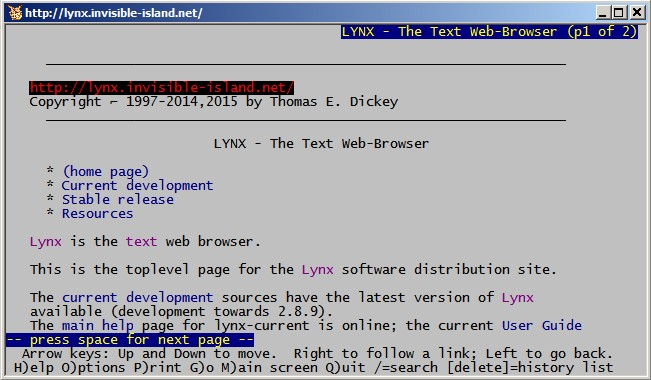 Using the Lynx text-based Web browser